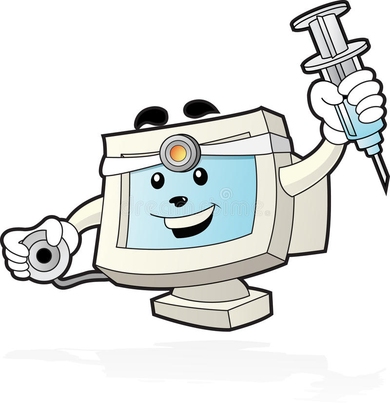Mascota del ordenador - doctor ilustración del vector
