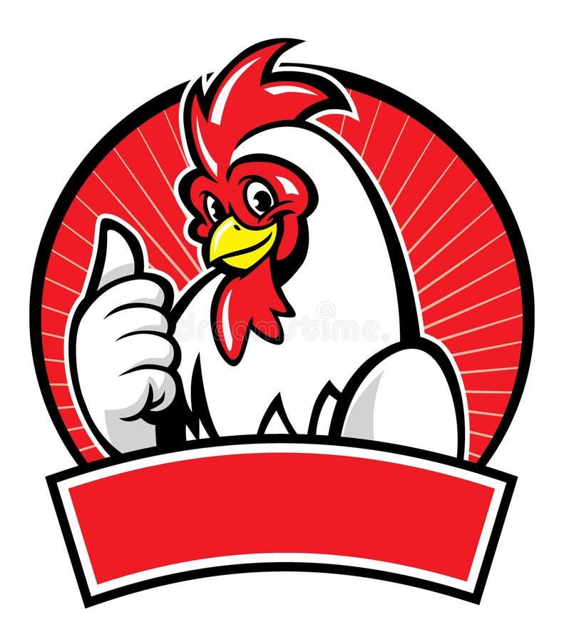 Mascota del pollo con el pulgar para arriba ilustración del vector