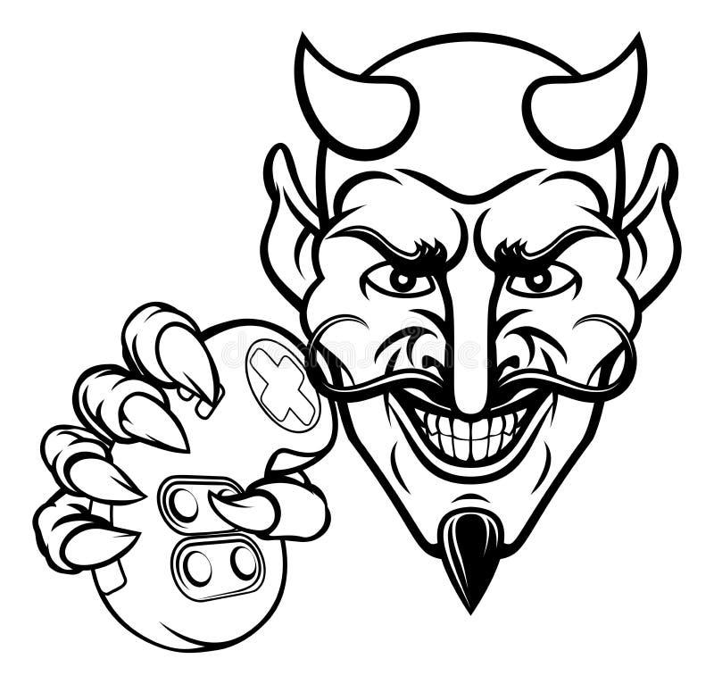 Mascota del videojugador de los deportes de Esports del diablo ilustración del vector