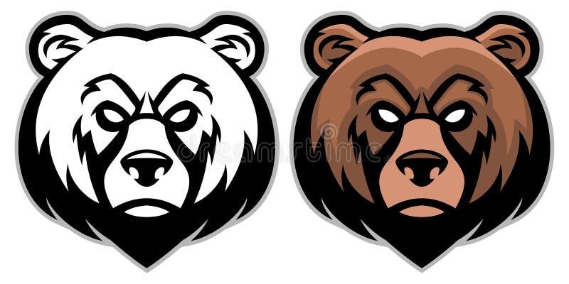 Mascota enojada de la cabeza del oso stock de ilustración