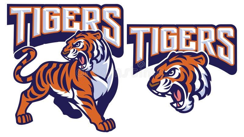 Mascota enojada del tigre ilustración del vector