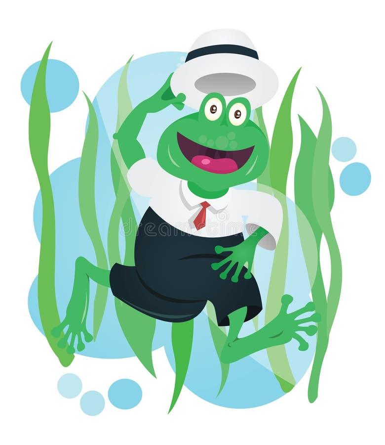 Mascota feliz de la rana del negocio en traje stock de ilustración