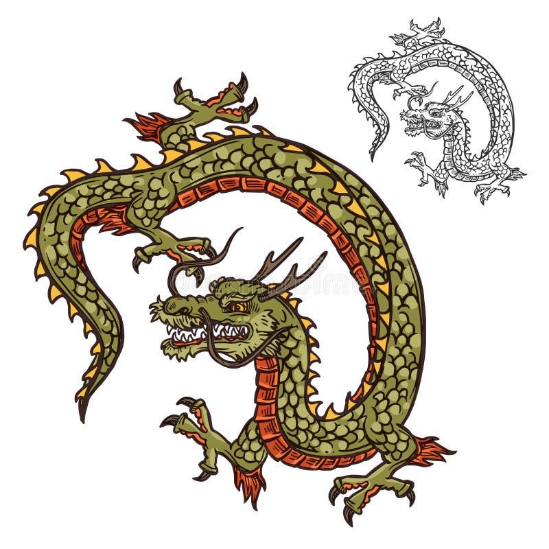 Mascota japonesa del diseño o de la religión del tatuaje del dragón libre illustration