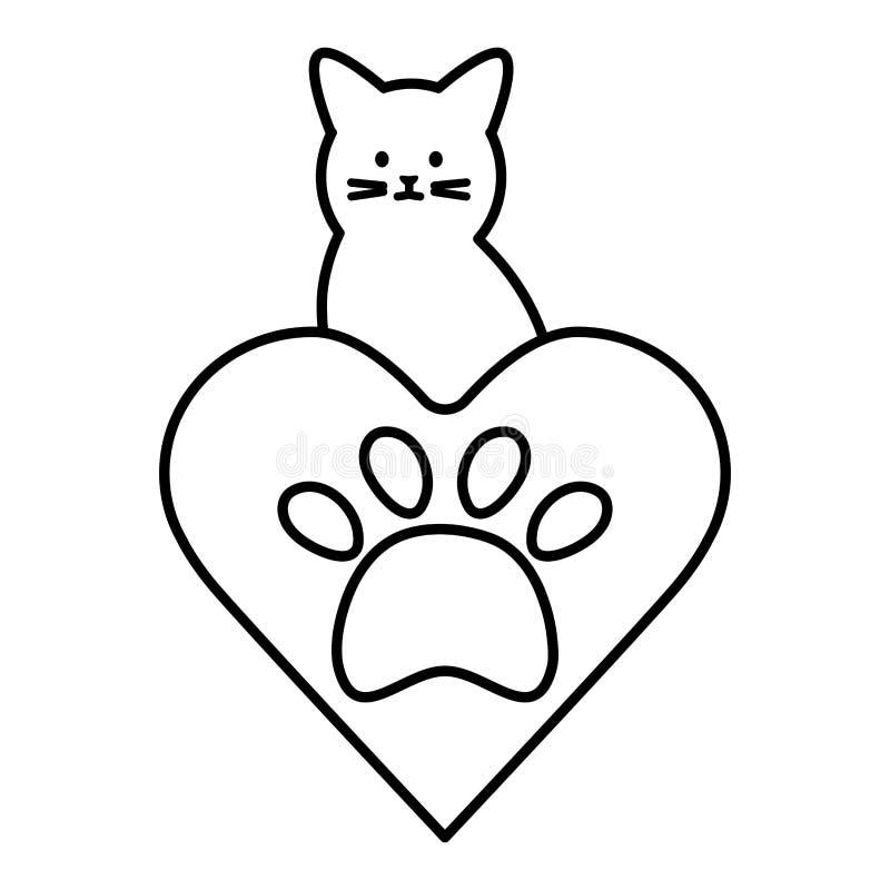 Mascota linda del gato con el corazón y la huella ilustración del vector