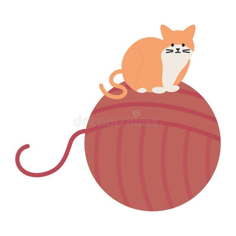 Mascota linda del gato con el juguete de la bola de las lanas ilustración del vector