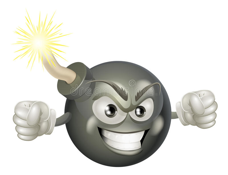 Mascota mala enojada de la historieta de la bomba stock de ilustración