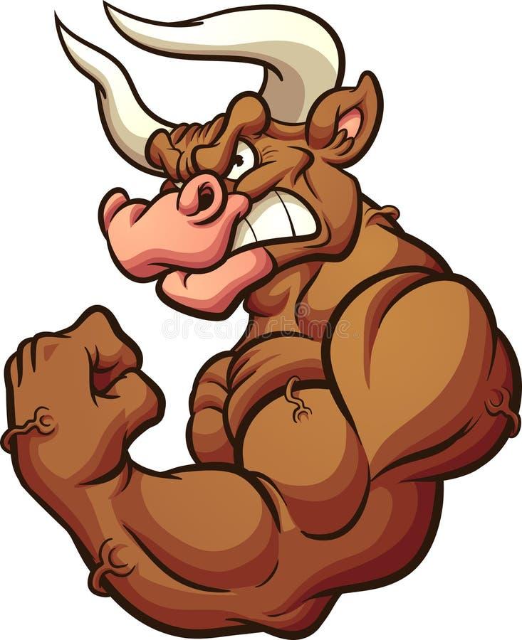 Mascota marrón fuerte del toro que dobla el brazo ilustración del vector
