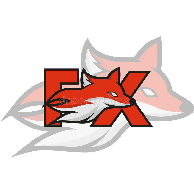 Mascota o Logo Idea del Fox con el texto ilustración del vector