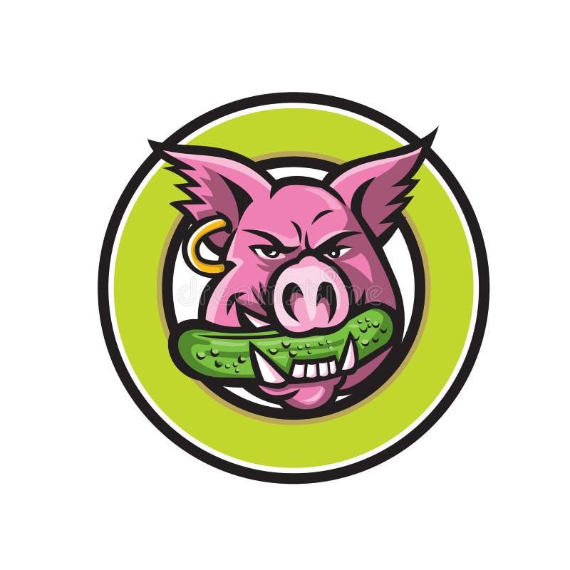 Mascota penetrante del círculo de la salmuera del cerdo salvaje ilustración del vector