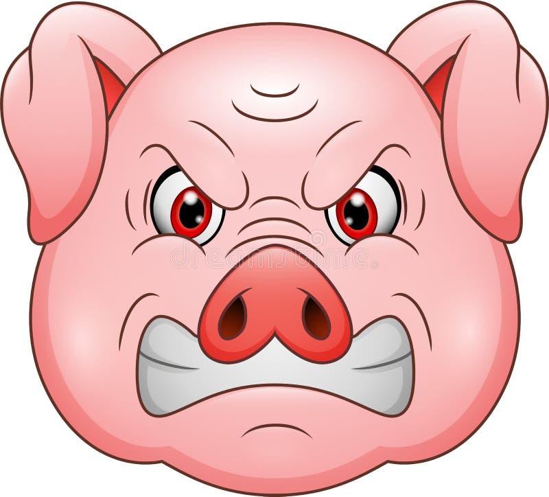 Mascota principal de la historieta del cerdo enojado libre illustration