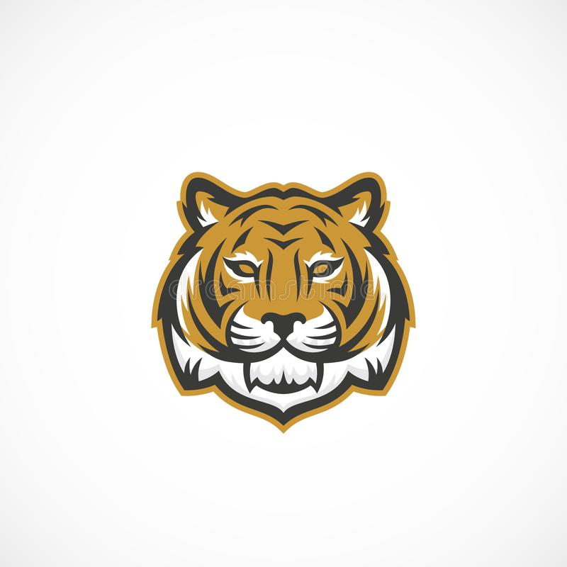 Mascota Tiger Face Abstract Vector Icon, símbolo o Logo Template Cabeza animal salvaje Sillhouette Estilo del deporte creativo stock de ilustración