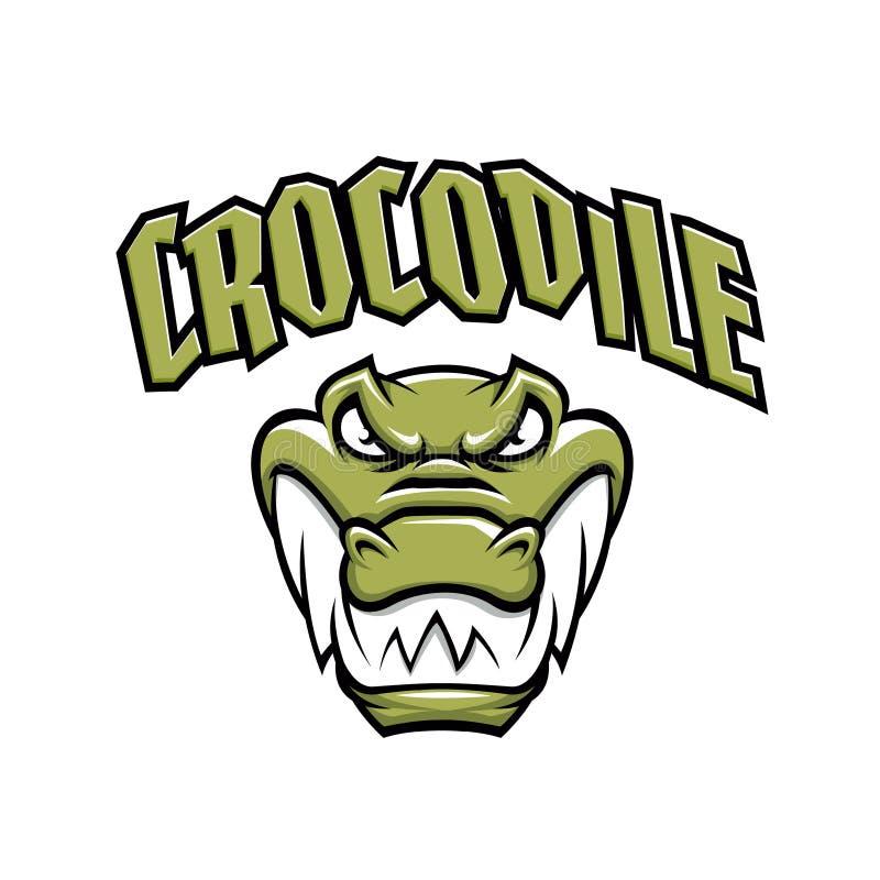 Mascota verde de la cabeza del cocodrilo ilustración del vector