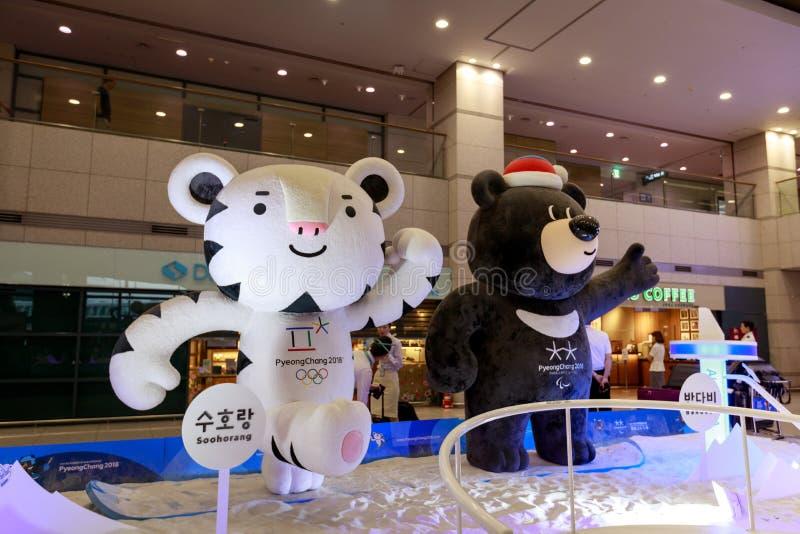 Mascotas de los juegos de olimpiada de invierno 2018 en Pyeongchang - una pizca fotos de archivo libres de regalías