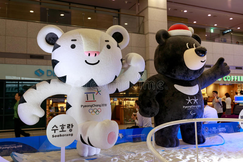 Mascotas de los juegos de olimpiada de invierno 2018 en Pyeongchang - una pizca foto de archivo libre de regalías