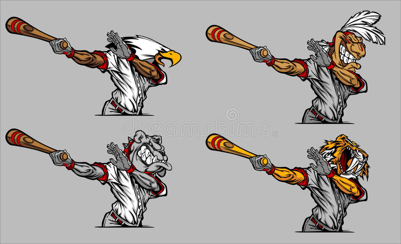 Mascotas del béisbol que hacen pivotar imágenes del vector del palo libre illustration