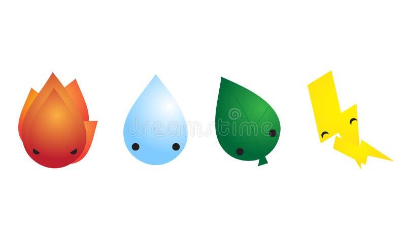 Mascote bonito de quatro elementos fotografia de stock royalty free