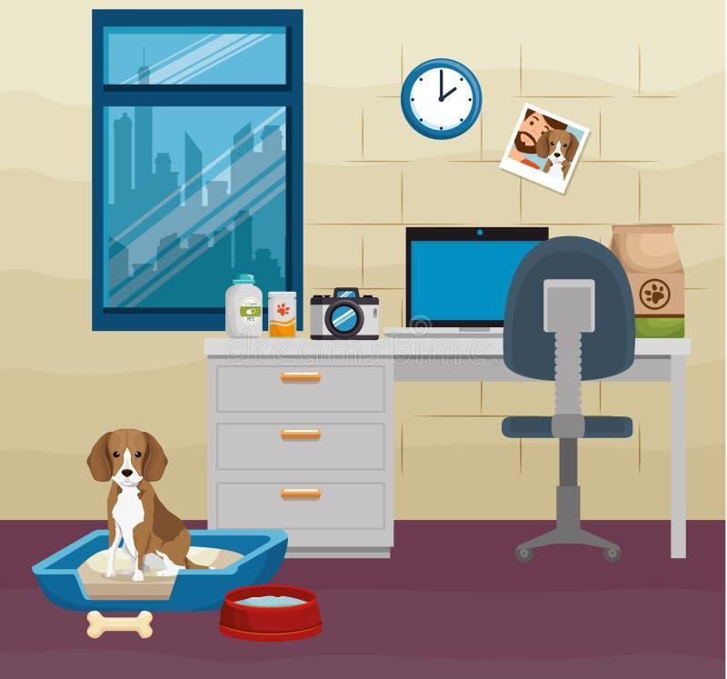 Mascote bonito do cão no local de trabalho ilustração do vetor