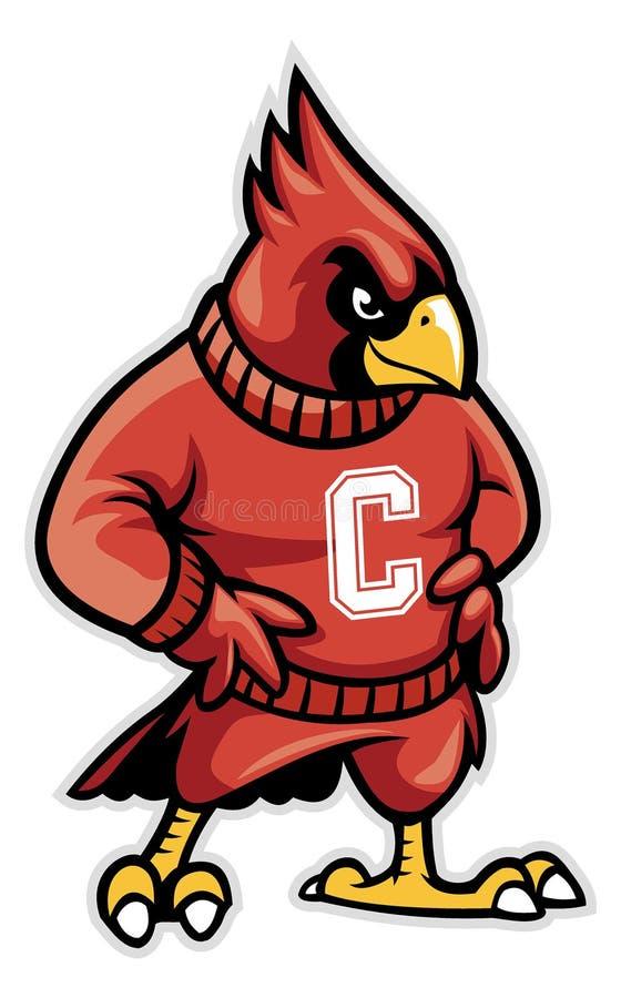 Mascote cardinal da escola ilustração stock
