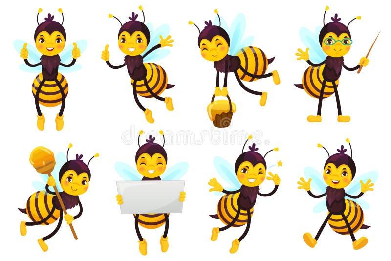 Mascote da abelha dos desenhos animados Abelha bonito, abelhas de voo e grupo amarelo engraçado feliz da ilustração do vetor das  ilustração stock