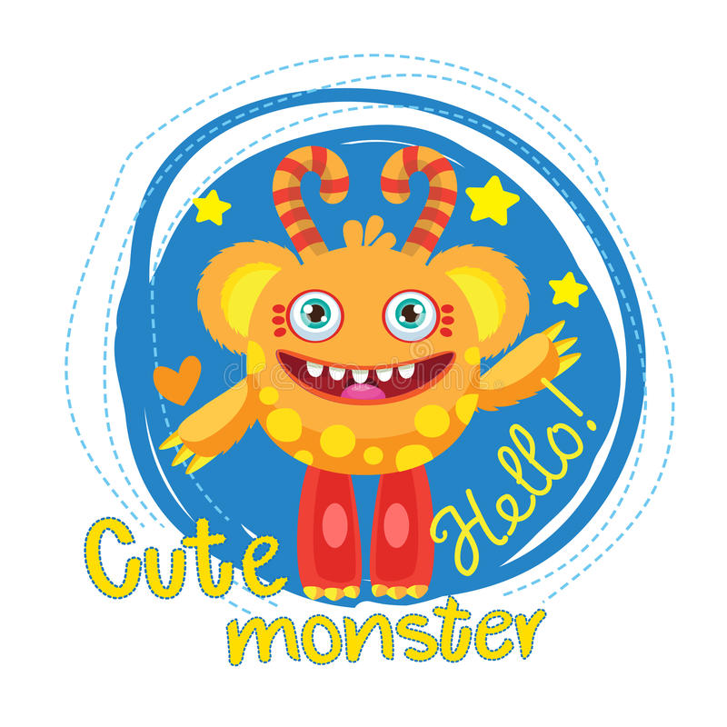 Mascote da bola do monstro dos desenhos animados Monstro mágico da varinha Urso engraçado inflável Universidade dos monstro ilustração royalty free