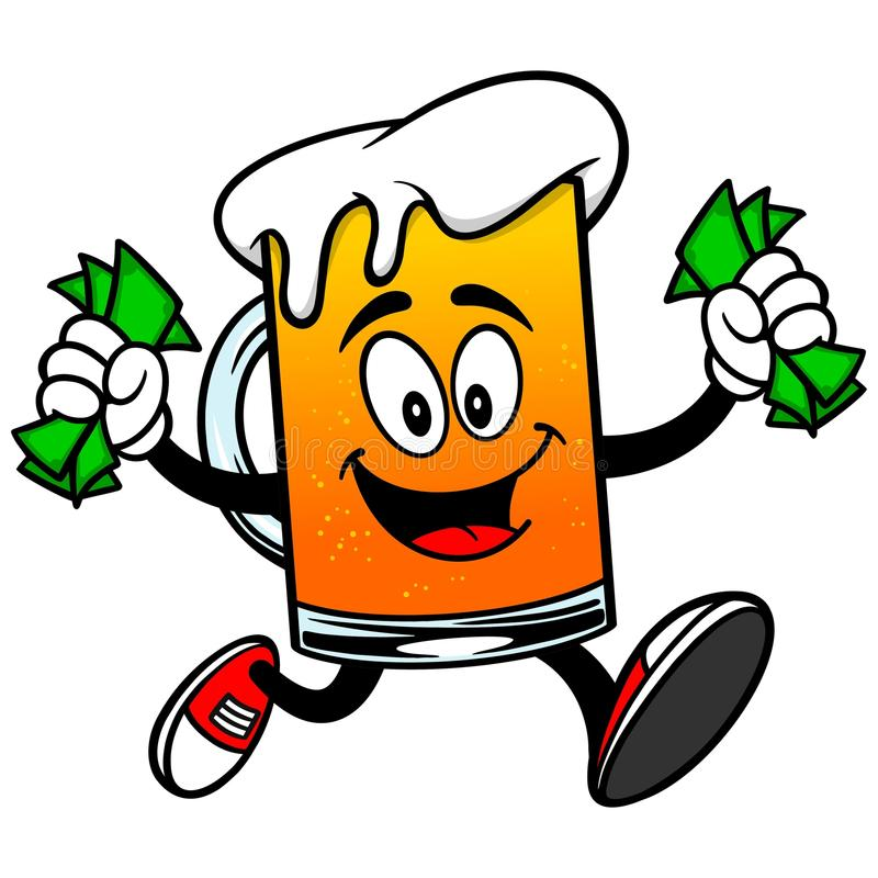 Mascote da cerveja com dinheiro ilustração stock