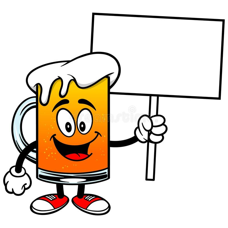 Mascote da cerveja com sinal ilustração stock