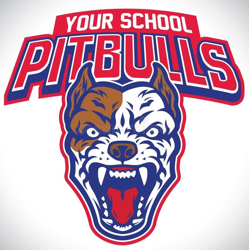 Mascote da escola do cão do pitbull ilustração royalty free