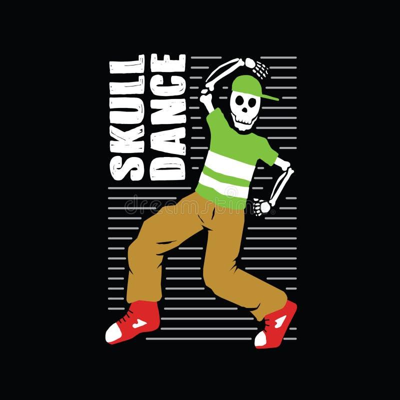 Mascote da ilustração da dança do crânio ilustração royalty free