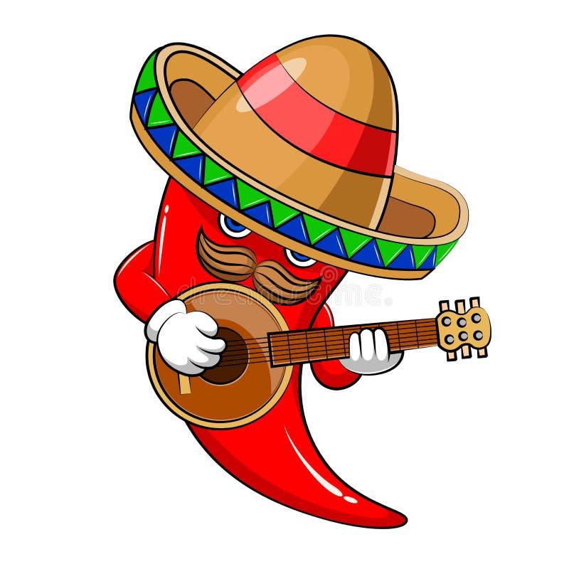 Mascote da malagueta picante do sombreiro ilustração stock