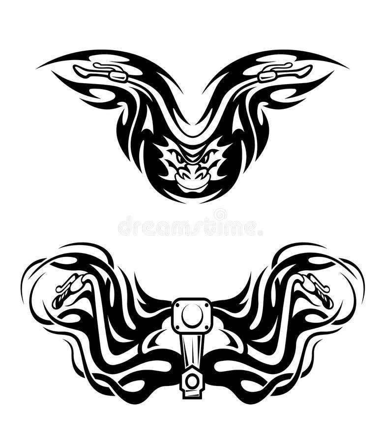Download Mascote Das Motocicletas Com Tribal Ilustração do Vetor - Ilustração de aggression, decorativo: 26522161