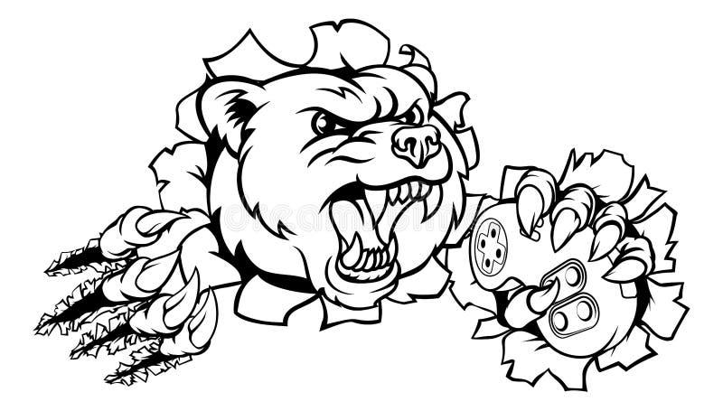 Mascote de Esports do urso ilustração royalty free