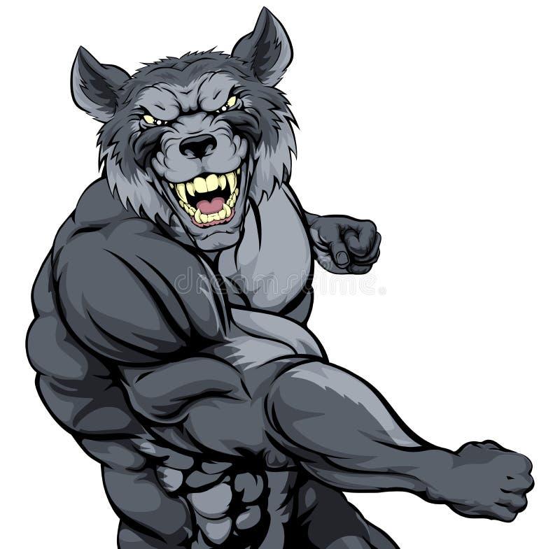 Mascote de perfuração do lobo ilustração do vetor