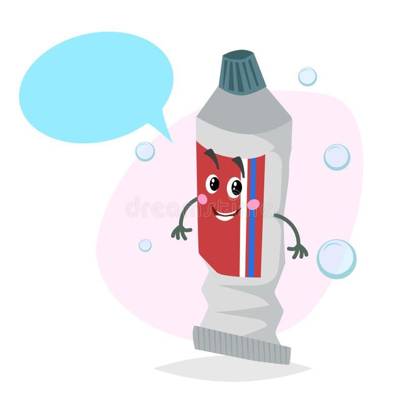Mascote de sorriso do dentífrico dos desenhos animados Caráter dos cuidados dentários com bolha do discurso do manequim ilustração do vetor