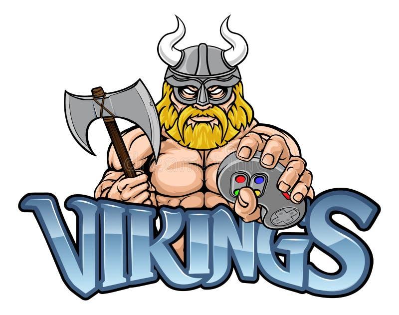 Mascote de Viking Gamer Gladiator Warrior Controller ilustração do vetor
