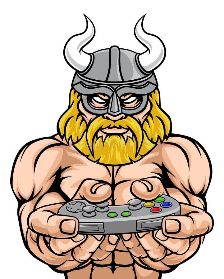 Mascote de Viking Gamer Gladiator Warrior Controller ilustração royalty free