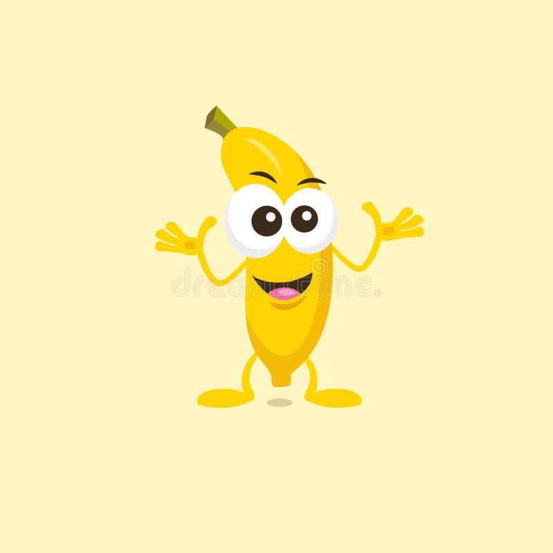 Mascote decisiva da banana ilustração stock