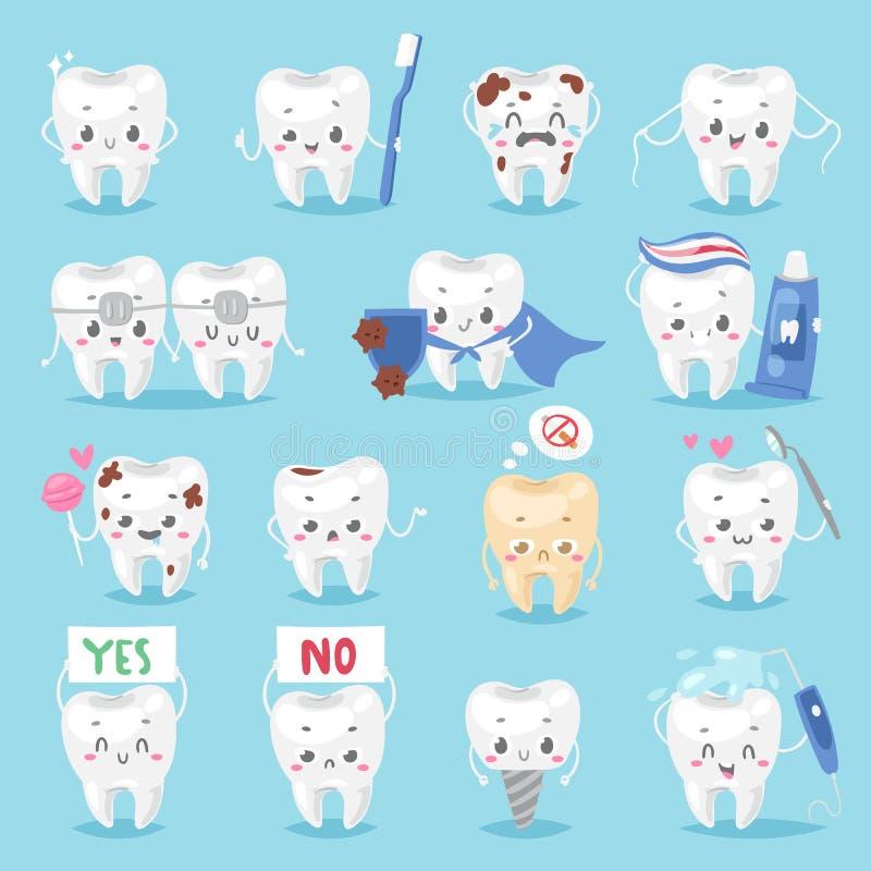 Mascote dental da clínica do personagem do caráter do dente com uma ilustração humana diferente de sorriso do vetor da pose da es ilustração stock