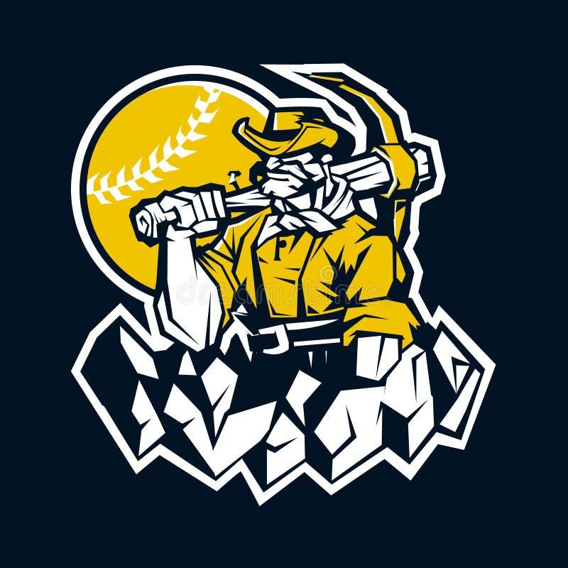 Mascote do basebol do prospetor do mineiro ilustração stock