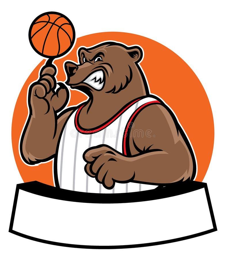 Mascote do basquetebol da escola do urso ilustração do vetor