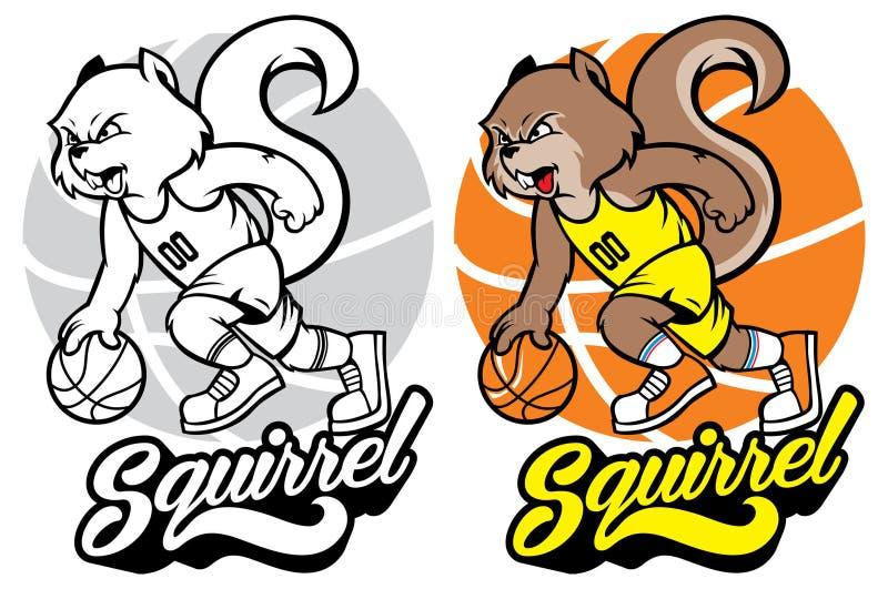 Mascote do basquetebol do esquilo ilustração stock
