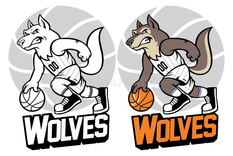 Mascote do basquetebol do lobo ilustração do vetor