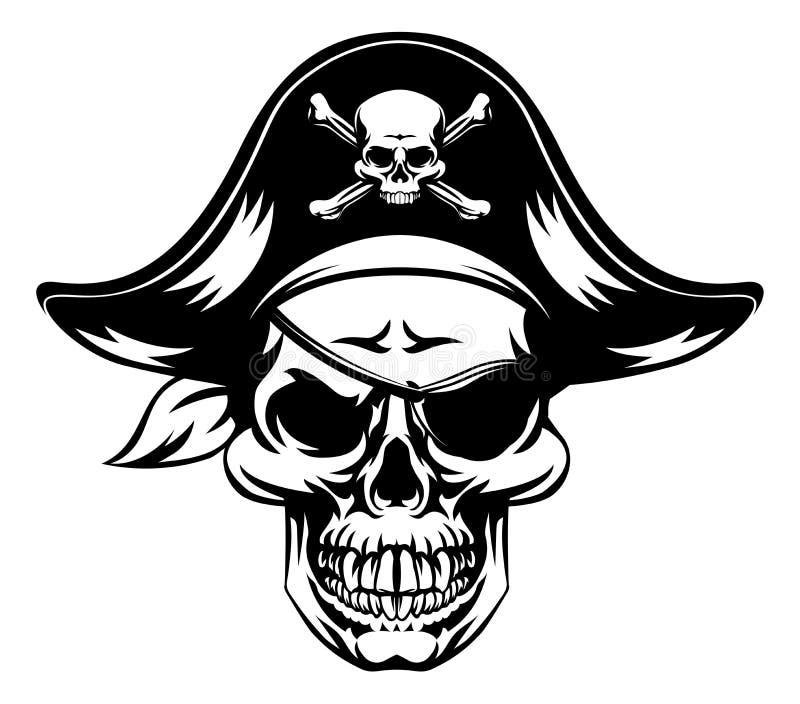 Mascote do crânio do pirata ilustração do vetor