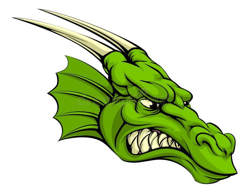 Mascote do dragão verde ilustração stock