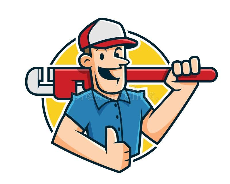 Mascote do encanador, caráter do encanador, desenhos animados do trabalhador ilustração stock