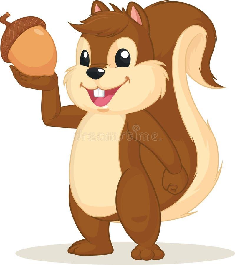 Mascote do esquilo que guarda a porca ilustração royalty free
