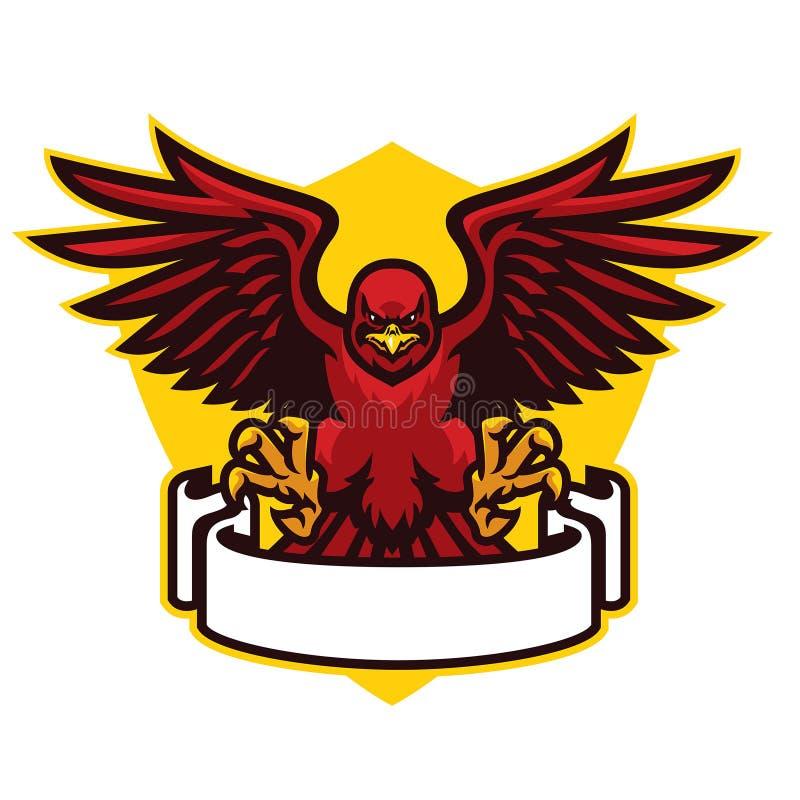 Mascote do falcão que espalha as asas ilustração stock