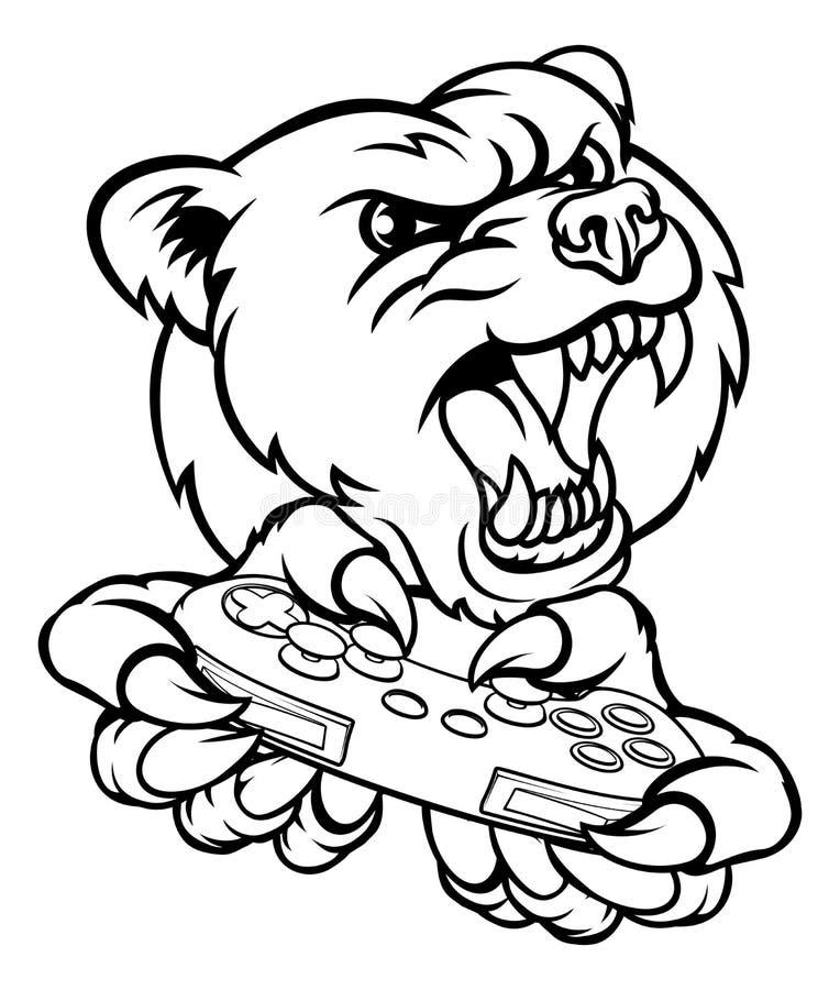 Mascote do Gamer do urso ilustração stock