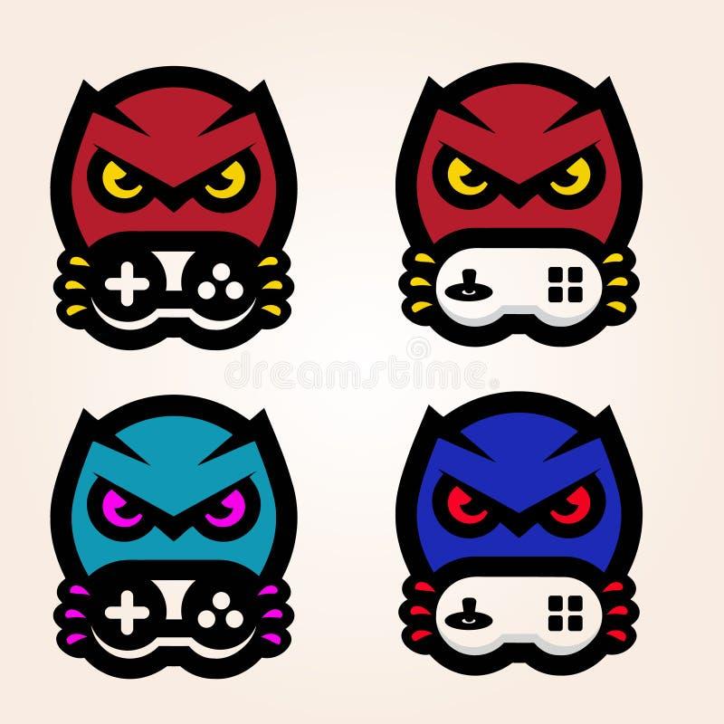 Mascote do Gamer dos esportes do pássaro com logotipo da vara de alegria ilustração stock