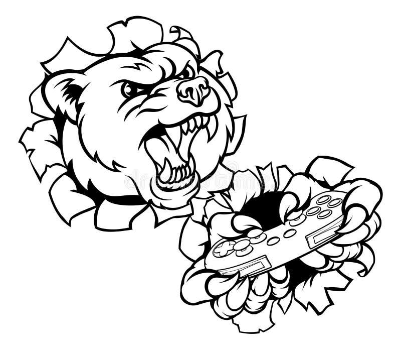 Mascote do Gamer do urso ilustração royalty free