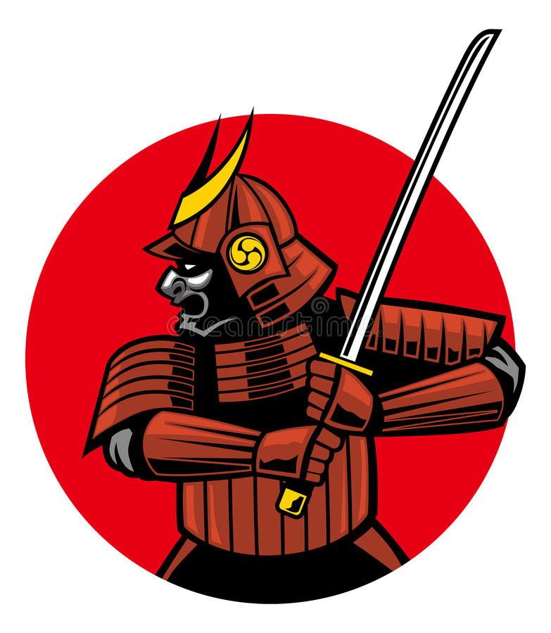 Mascote do guerreiro do samurai ilustração royalty free